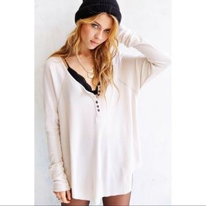 Urban Outfitters Truly Madly Deeply Boyfriend Thermal Henley Shirt